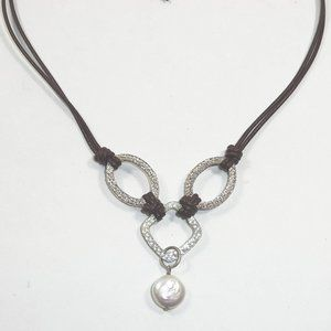 Silpada Coin Pearl Brown Leather Necklace N1257